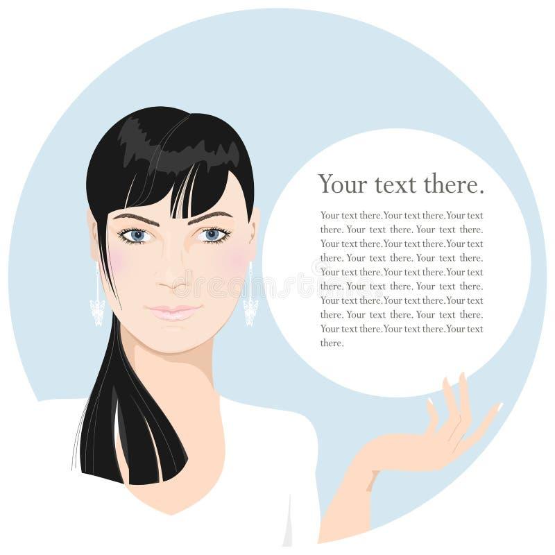 Femme d'affaires avec un panneau-réclame blanc, sur un rond images stock
