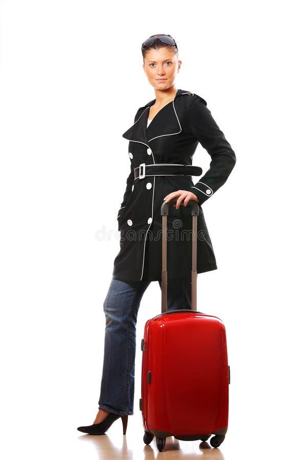 Femme d'affaires avec une valise photographie stock libre de droits