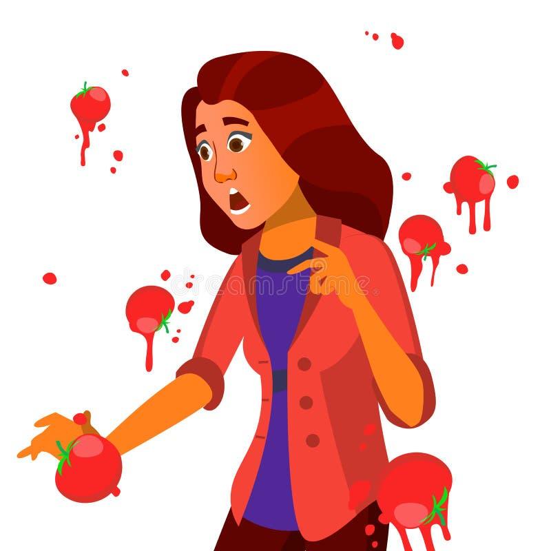 Femme d'affaires ayant le vecteur de la parole d'échouer de tomates Présentation infructueuse Mauvais discours public Femme europ illustration de vecteur