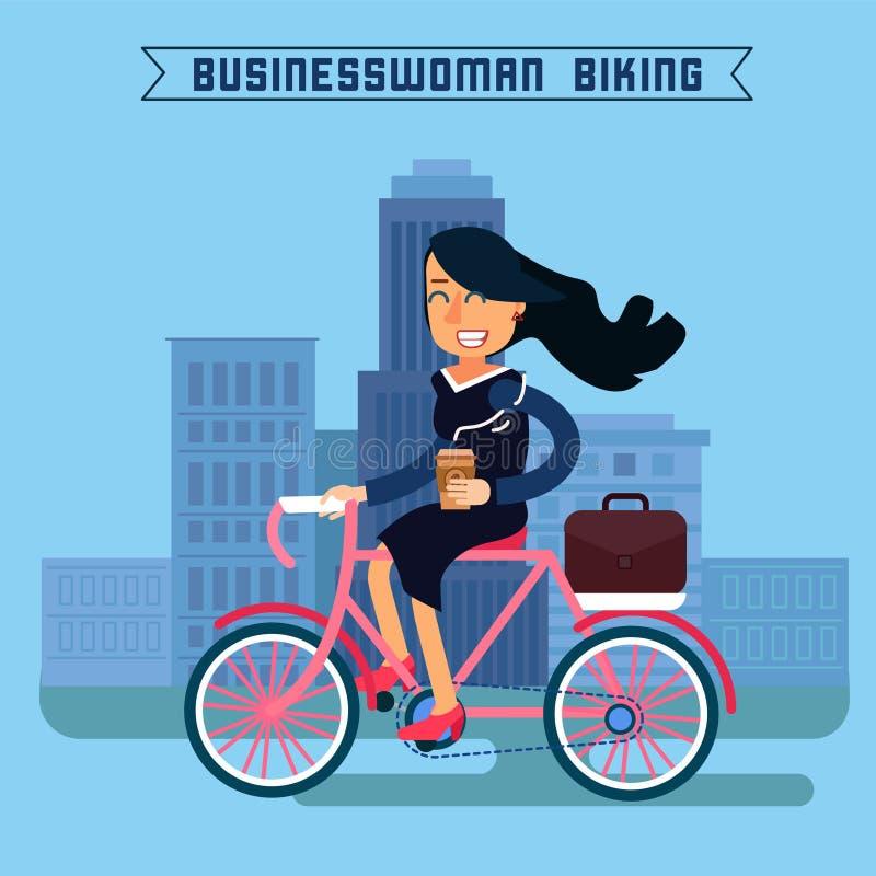 Femme d'affaires Biking Femme d'affaires Riding une bicyclette illustration libre de droits
