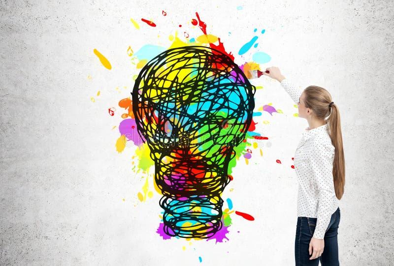 Femme d'affaires blonde dessinant l'ampoule illustration stock