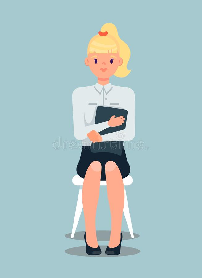 Femme d'affaires blonde Flat Vector Illustration illustration de vecteur