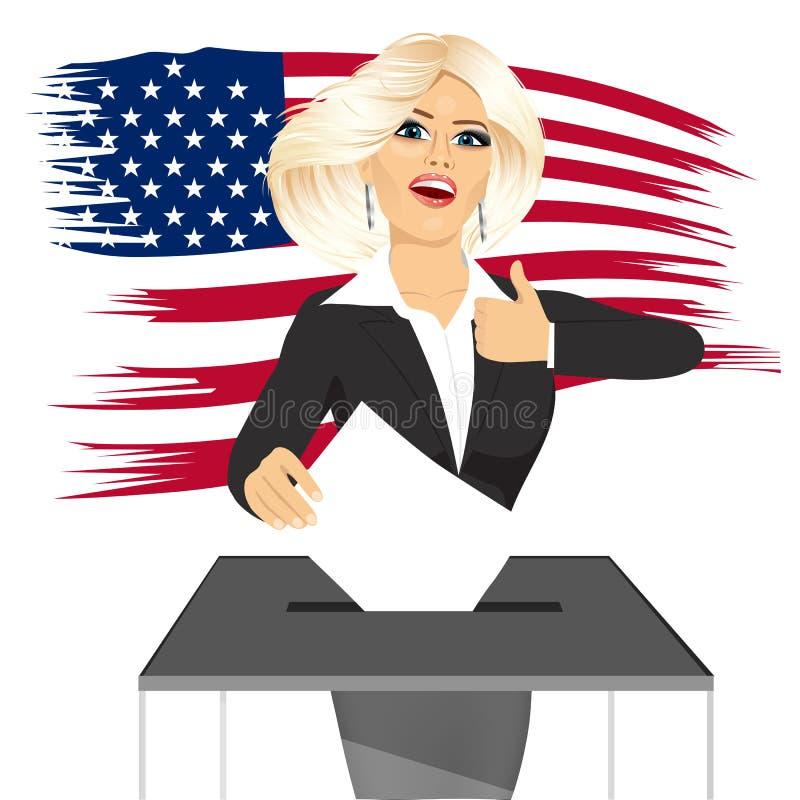 Femme d'affaires blonde mettant le vote dans la boîte de vote illustration stock