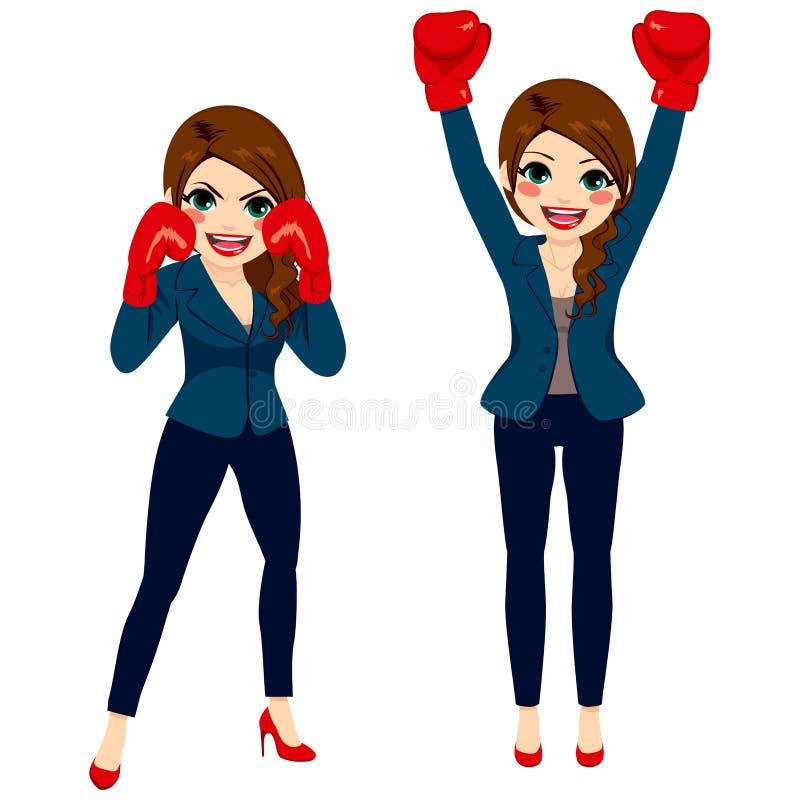 Femme d'affaires Boxing Fighter illustration de vecteur