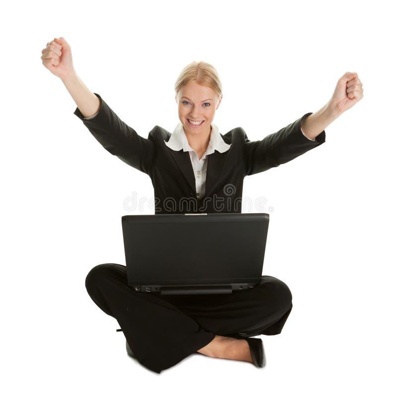 Femme d'affaires célébrant la réussite photos stock