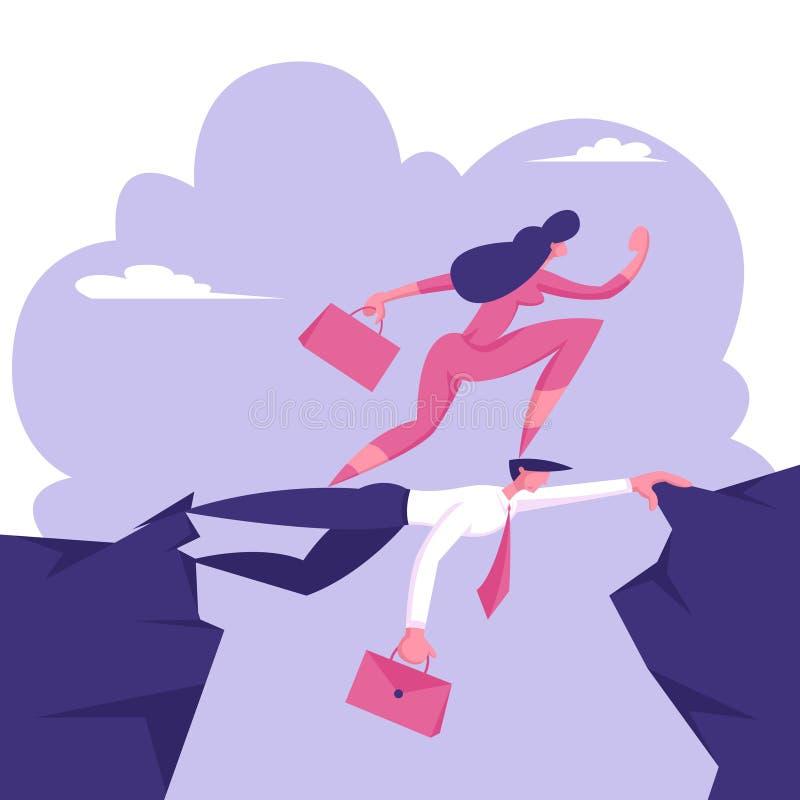 Femme d'affaires Careerist Walk sur la tête du collègue Concept d'arrêt à rien Le plus fort survivra Femme d'affaires - 2 illustration stock