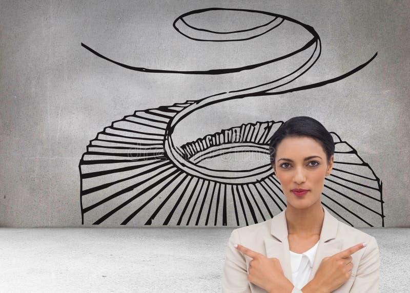 Femme d'affaires charismatique avec ses bras croisés et le pointage de doigts illustration stock