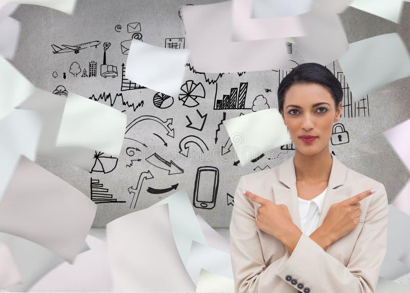 Femme d'affaires charismatique avec ses bras croisés et le pointage de doigts illustration libre de droits