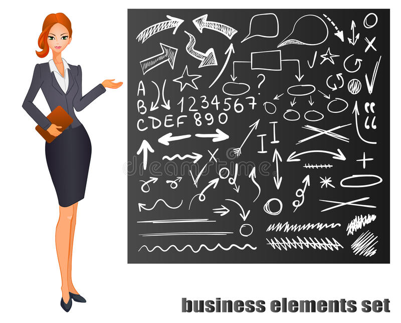 Femme d'affaires Cheveux rouges Tableau avec des croquis tirés par la main d'affaires Illustration du vecteur ENV 8 illustration stock