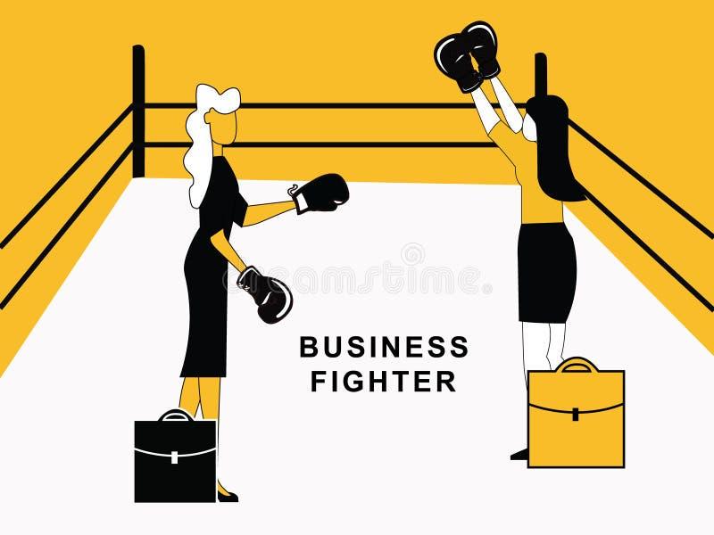 Femme d'affaires combattant en anneau illustration de vecteur