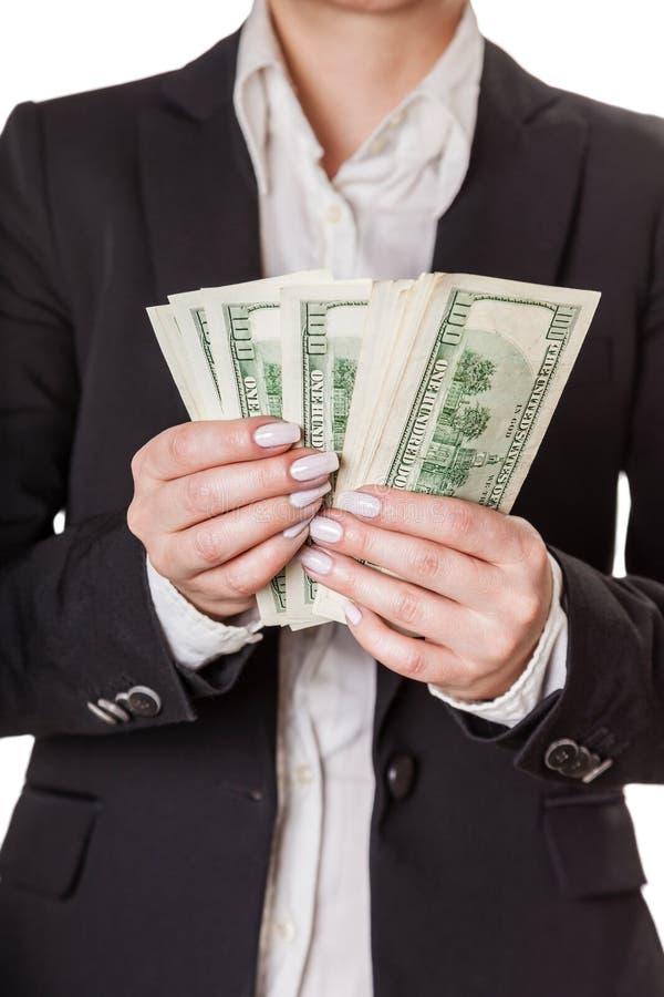 Femme d'affaires comptant l'argent images stock