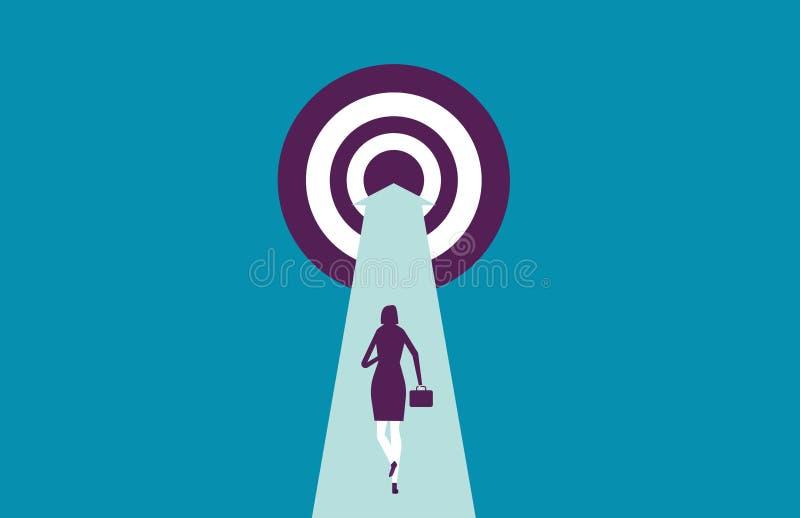 Femme d'affaires courant pour viser Affaires d'illustration de vecteur au sujet de image stock