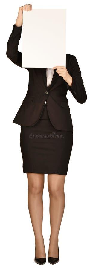 Femme d'affaires couvrant son visage de page blanche photo libre de droits