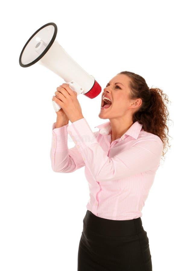 Femme d affaires criant par le mégaphone