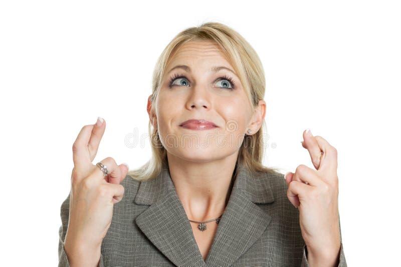 Femme d'affaires croisant ses doigts photo libre de droits