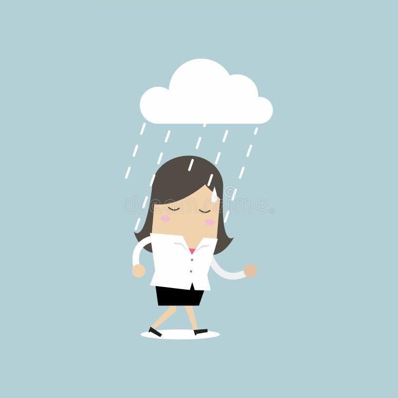 Femme d'affaires déprimée marchant sous la pluie illustration de vecteur