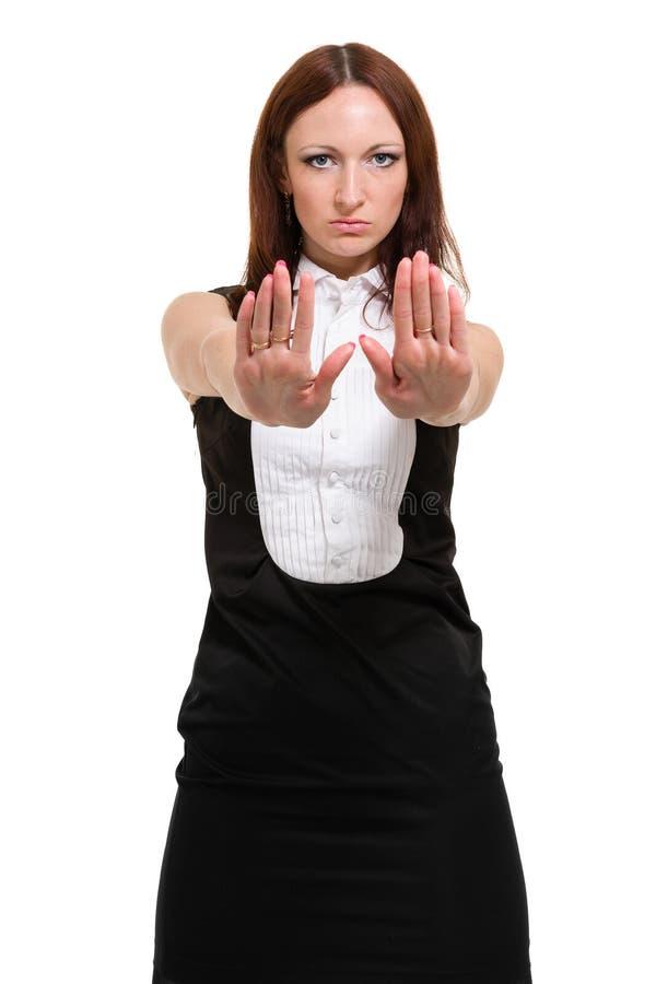 Femme d'affaires d'isolement sur le fond blanc image libre de droits