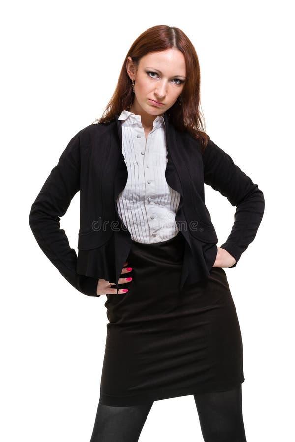 Femme d'affaires d'isolement sur le fond blanc photographie stock