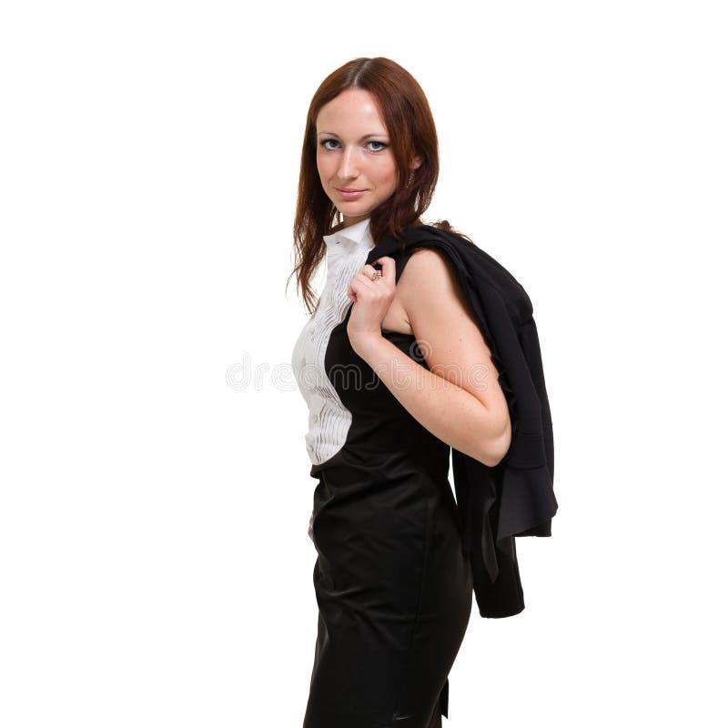 Femme d'affaires d'isolement sur le fond blanc images stock