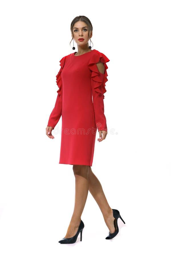 Femme d'affaires dans des vêtements formels d'isolement sur le blanc images libres de droits