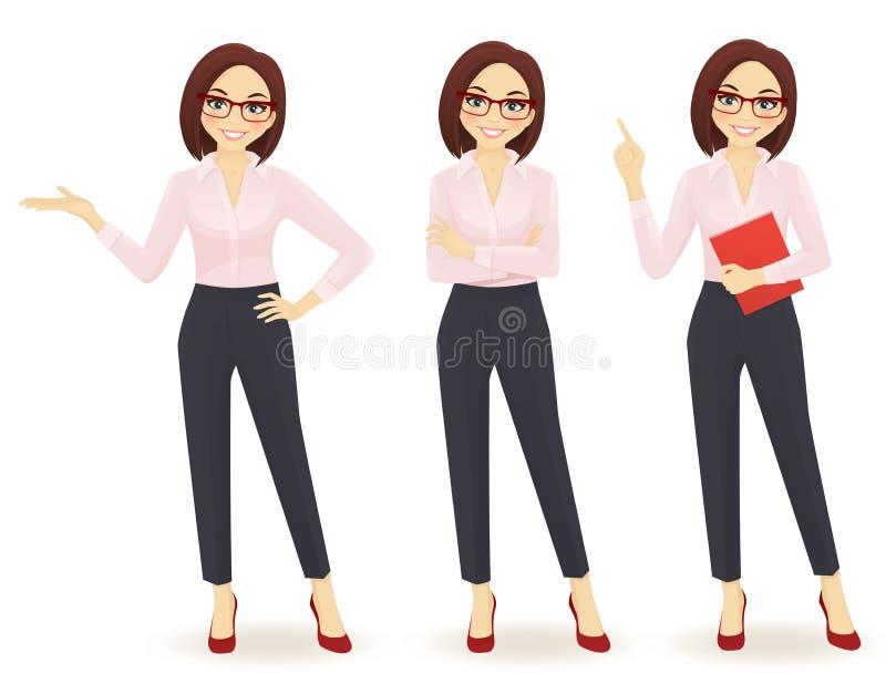 Femme d'affaires dans différentes poses illustration libre de droits