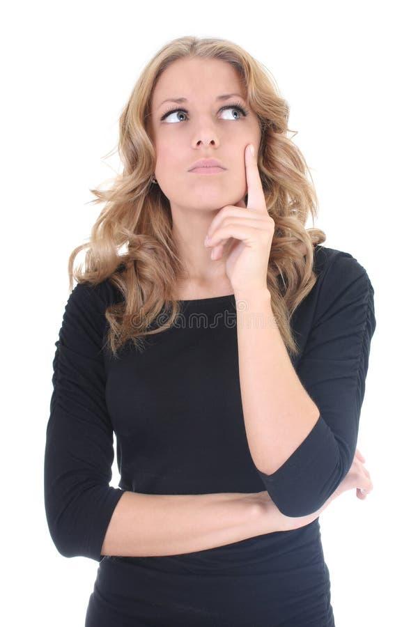 Femme d'affaires dans penser noir photo stock