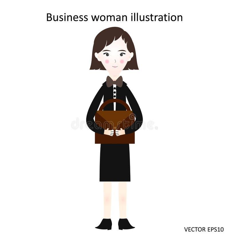 Femme d'affaires dans un costume avec une serviette, illustration, fond blanc illustration stock