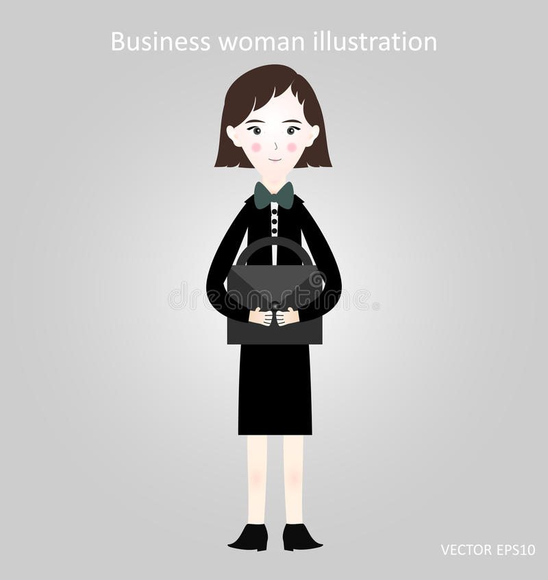 Femme d'affaires dans un costume avec une serviette, illustration, fond gris photo libre de droits