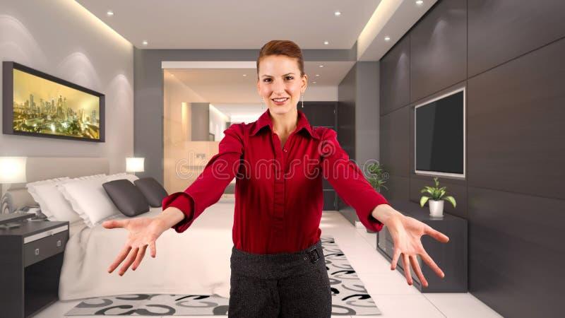 Femme d'affaires dans un hôtel images libres de droits