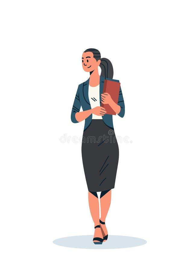 Femme d'affaires de brune jugeant intégral plat de personnage de dessin animé femelle d'employé de bureau de femme d'affaires de  illustration de vecteur