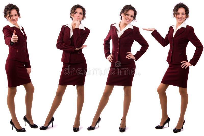 Femme d'affaires de Brunette rectifiée dans le procès de redk. photographie stock