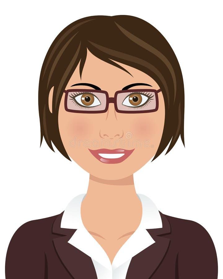 Femme d'affaires de cheveux de Brown avec des verres illustration de vecteur