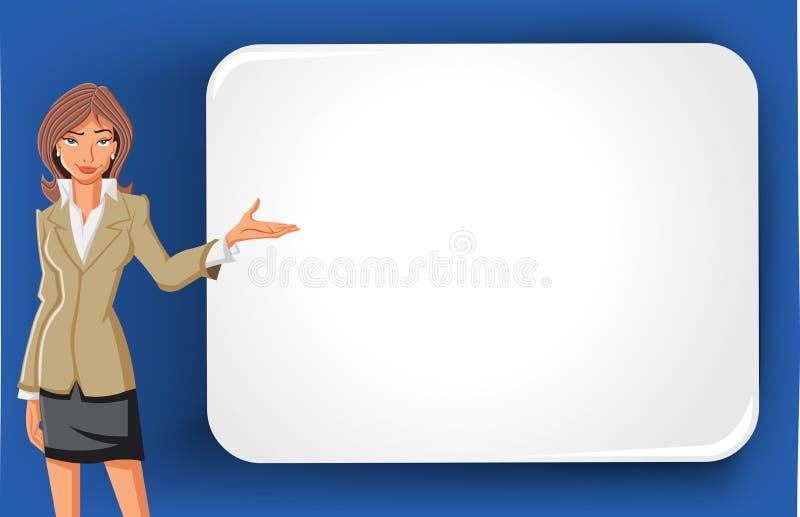 Femme d'affaires de dessin animé et panneau-réclame blanc illustration de vecteur
