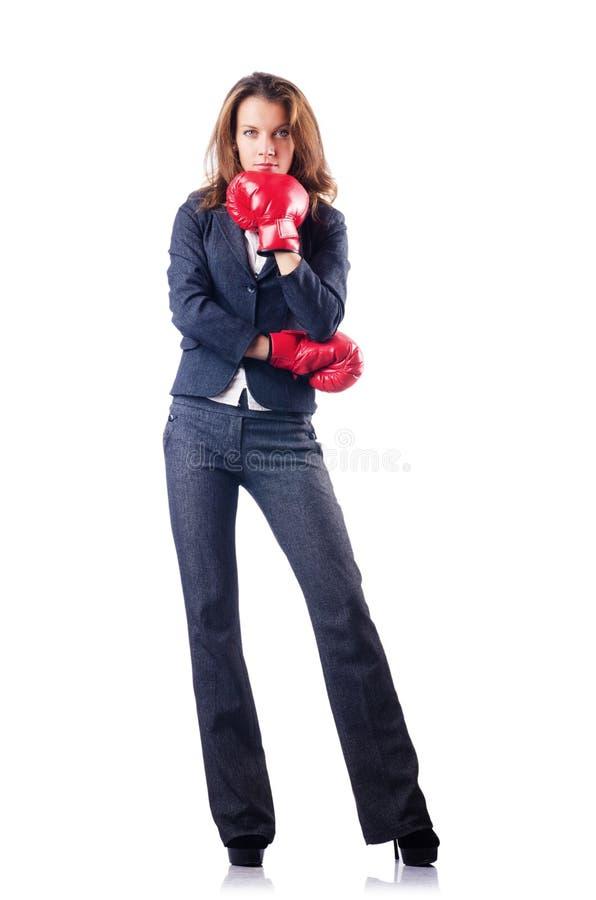 Femme D Affaires De Femme Avec Des Gants De Boxe Images stock