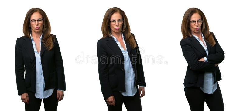 Femme d'affaires de Moyen Âge avec de longs cheveux photos stock