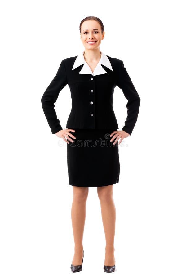 femme d'affaires de Plein-fuselage sur le blanc photos stock