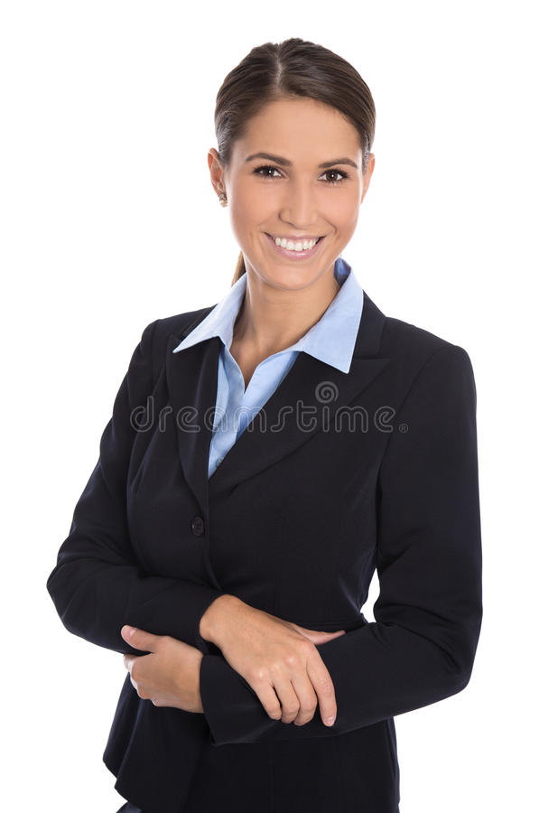 Femme d'affaires de sourire d'isolement attirante dans le costume bleu image stock