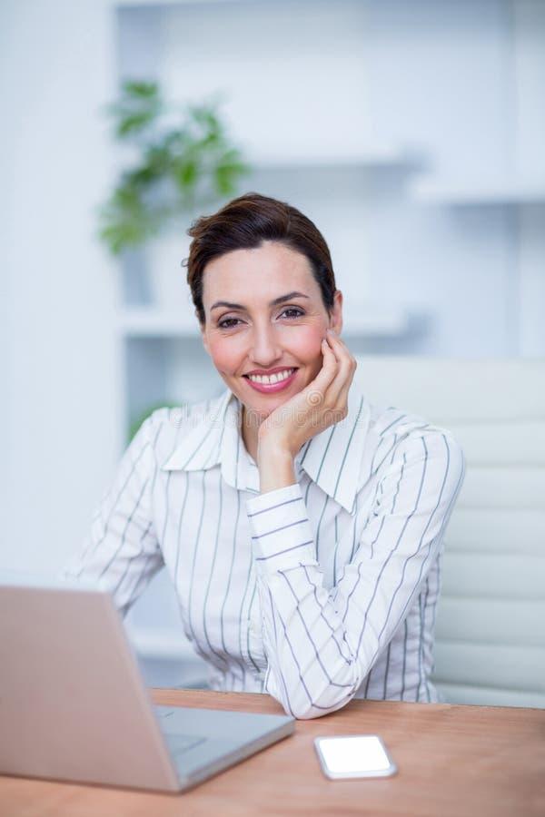 Download Femme D'affaires De Sourire De Jolie Brune à L'aide De L'ordinateur Portable Photo stock - Image du utilisation, professionnel: 56482522
