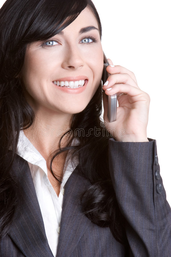 Femme d'affaires de sourire de téléphone images libres de droits