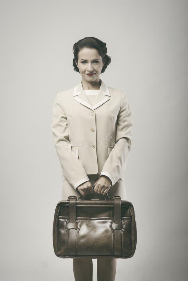 Femme d'affaires de sourire de vintage photographie stock libre de droits