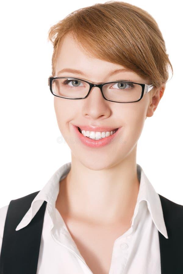 Femme d'affaires de sourire heureuse photo stock