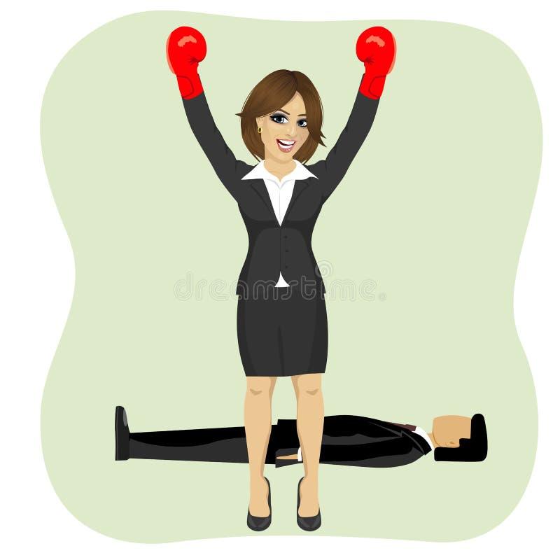 Femme d'affaires de succès encourageant avec les bras augmentés portant des gants de boxe devant l'homme se trouvant sur le planc illustration de vecteur