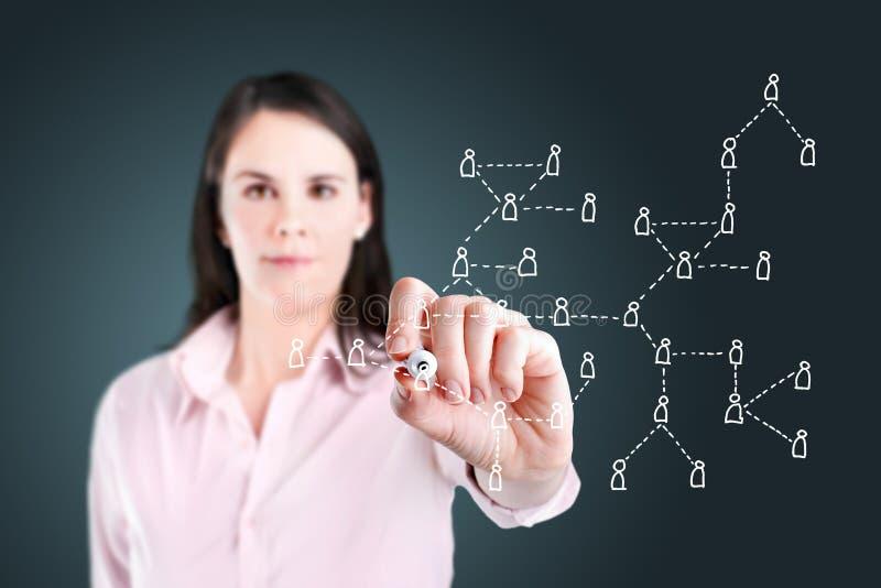 Femme d'affaires dessinant le concept social de réseau. photographie stock libre de droits