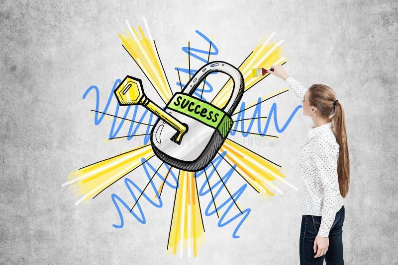 Femme d'affaires dessinant une clé au succès illustration libre de droits