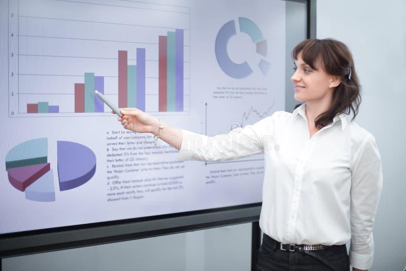 Femme d'affaires dirigeant le marqueur sur un diagramme financier photos libres de droits