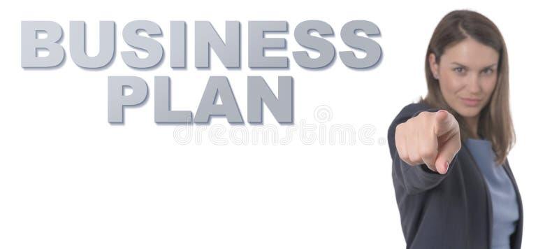 Femme d'affaires dirigeant le PLAN D'ACTION des textes photos stock