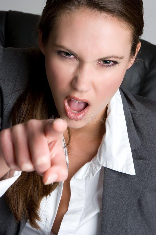 femme d'affaires dirigeant le renversement photo stock
