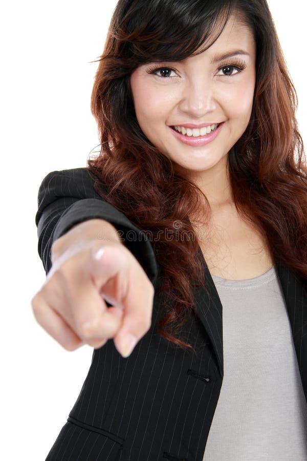 Femme d'affaires dirigeant son doigt images stock