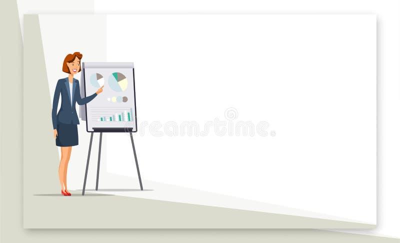 Femme d'affaires donnant la bannière de couleur de Web de présentation illustration stock
