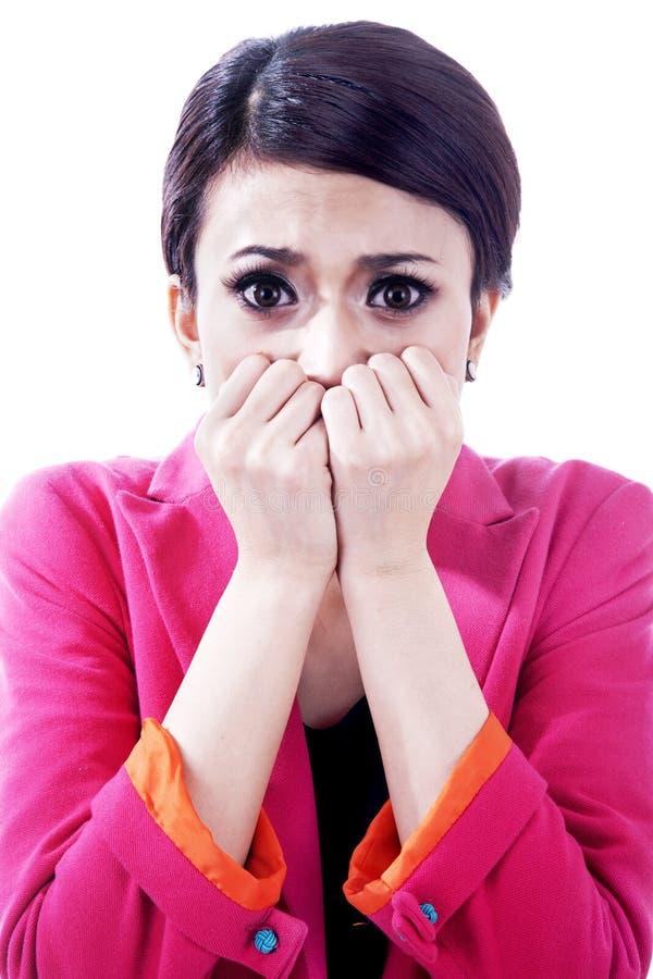 Femme d'affaires effrayée nerveuse images libres de droits